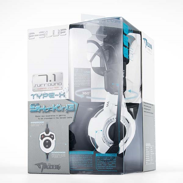E-Blue, Mazer Type X 7.1, Gaming Headset with Microphone, white, LED Backlight (PC)